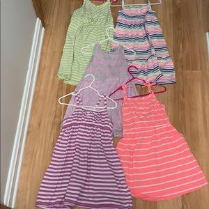 Bundle of 5 striped sundresses. Size 4/4T